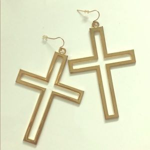 Trendy Large Gold Cross Earrings